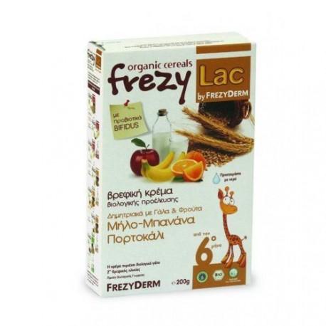 Frezyderm Frezylac Cereal Βρεφική Βιολογική Κρέμα Δημητριακά Με Γάλα Και Φρούτα Μήλο-μπανάνα-πορτοκάλι 200g