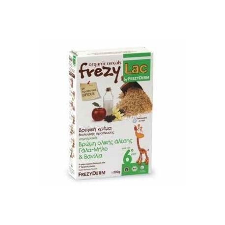 Frezyderm Frezylac Cereal Βρεφική Βιολογική Κρέμα Βρώμης Ολικής Άλεσης Με Γάλα, Μήλο Και Βανίλια 200g