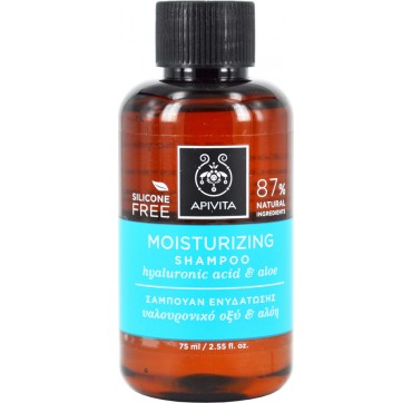 APIVITA Mini Moisturizing Shampoo Σαμπουάν Ενυδάτωσης με Υαλουρονικό Οξύ & Αλόη, 75ml