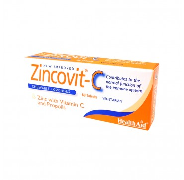 Health Aid Zincovit-C ZINC WITH VIT C AND PROPOLIS 60 Chew.LOZENGES