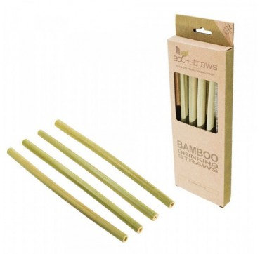 Ecostrawz Οικολογικά Βιοδιασπώμενα Καλαμάκια Μπαμπού Reusable Biodegradable Straws 215mm 4τμχ