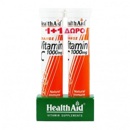 HEALTH AID VITAMIN-C 1000mg 20effer.tabs + ΔΩΡΟ VITAMIN C 500mg 20effer.tabs