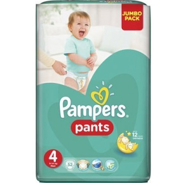 PAMPERS PANTS JUMBO PACK No 4 (9-15 kg) 52τεμ.