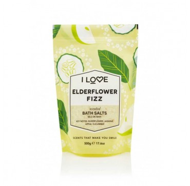 I LOVE COSMETICS SCENTED BATH SALTS GLAZED ELDERFLOWER FIZZ 500g