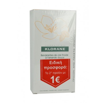 Klorane Cold Wax Μικρές Τανιες Με Γλυκό Αμύγδαλο Για Πρόσωπο Και Ευαίσθητες Περιοχές (το 2ο Προϊόν Με 1€) 2x6strips