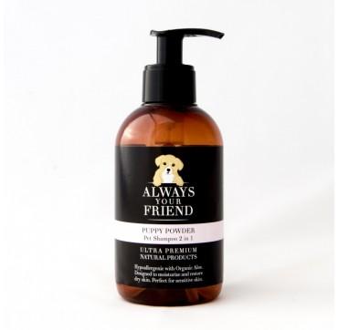 ALWAYS YOUR FRIEND Puppy Powder Pet Shampoo 2 in1 Σαμπουάν Λάμψης & Ενυδάτωσης (για σκύλους) 250ml
