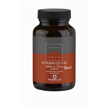 Terranova Vitamin D3 2000iu & K2 (as Menaq 7) 100mg Complex 50vcaps