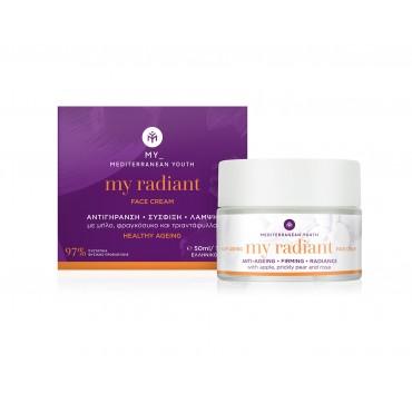 Mediterranean Youth My Radiant Face Cream Healthy Ageing Αντιγήρανση, Σύσφιξη, Λάμψη Με Μήλο, Φραγκόσυκο Και Τριαντάφυλλο 50ml