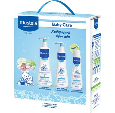 MUSTELA BABY CARE PACK CLEANSING GEL 500ML + HB LOTION 300ml + BUBBLE BATH 200ml