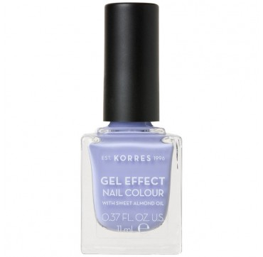 KORRES GEL EFFECT NAIL COLOUR No73 LAVENDER PURPLE WITH SWEET ALMOND OIL 11ml