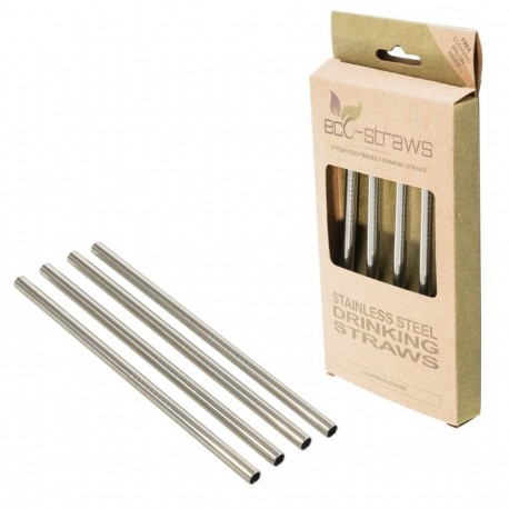 Stainless Steel Drinking Straws Straight 4τεμ.