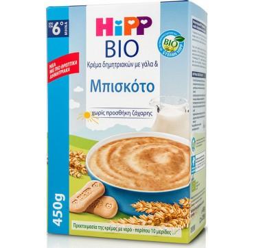 Hipp Bio Κρέμα Δημητριακών Με Γάλα Και Μπισκότο Χωρίς Προσθήκη Ζάχαρης Από Τον 6ο Μηνά 450g