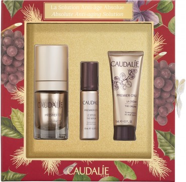 CAUDALIE Absolute Anti-Aging Solution Set with Premier Cru The Eye Cream 15ml + The Serum 10ml + The Cream 15ml
