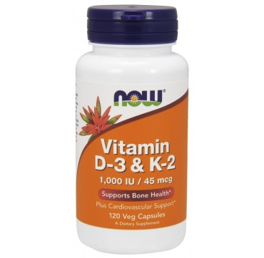 NOW VITAMIN D-3 1000IU & K-2 45MCG 120VEG CAPS