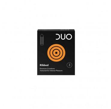 DUO Ribbed - Προφυλακτικά με ραβδώσεις 3τμχ