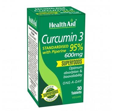 HEALTH AID CURCUMIN 3 600MG WITH PIPERINE 30 TABS