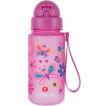 Littlelife Water Bottle Butterfly Ροζ Παγούρι Με Καλαμάκι 400ml