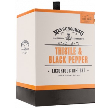 THE SCOTTISH FINE SOAPS MEN'S GROOMING Thistle & Black Pepper Body Wash, After Shave Balm, Facial Wash 75ml & Soap Bar 40g
