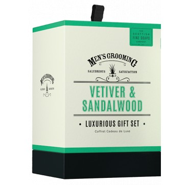 The Scottish Fine Soaps Men's Grooming Vetiver & Sandalwood Set Shave Scrub, Shave Cream, After Shave Balm 75ml & Soap Bar 40g