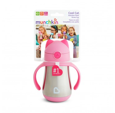 MUNCHKIN COOL CAT STAINLESS STEEL STRAW CUP PINK (51923) 18m+ 237ml 1τμχ.