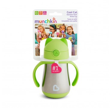 MUNCHKIN COOL CAT STAINLESS STEEL STRAW CUP GREEN (51925) 18m+ 237ml 1τμχ.
