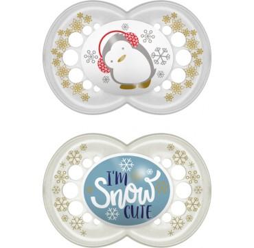Mam Πιπίλα Σιλικόνης Winterfun 6-16m I'm Snow Cute 2τμχ