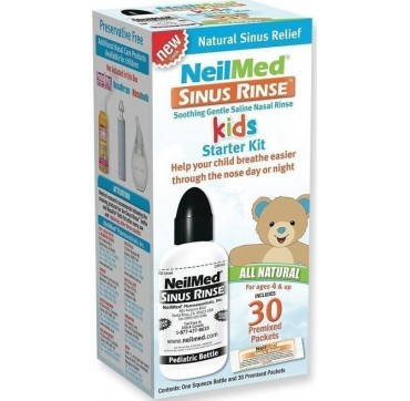 NEILMED SINUS RINSE KIDS STARTER KIT ΣΥΣΤΗΜΑ ΡΙΝΙΚΩΝ ΠΛΥΣΕΩΝ ΜΕΓΑΛΟΥ ΟΓΚΟΥ / 30 PREMIXED SACHETS & 1 SQUEEZE BOTTLE 120ML