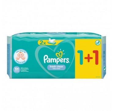 PAMPERS FRESH CLEAN BABY SCENT ΜΩΡΟΜΑΝΤΗΛΑ. 1+1 ΔΩΡΟ (2Χ52) 104τμχ