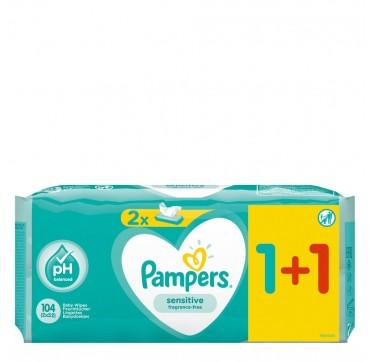 Pampers Sensitive Μωρομάντηλα Χωρίς Άρωμα 1+1 Δώρο (2χ52) 104τμχ