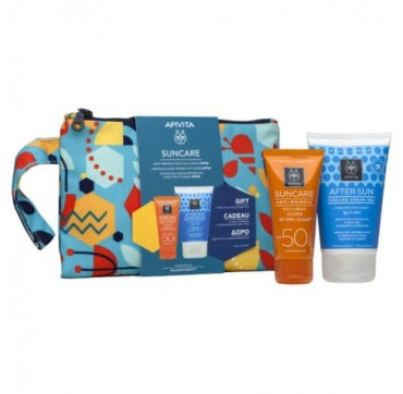 Apivita Suncare Promo Pack Anti-wrinkle Face Sun Cream Spf50+ 50ml & Δώρο After Sun 100ml Σε Συλλεκτικό Necessaire
