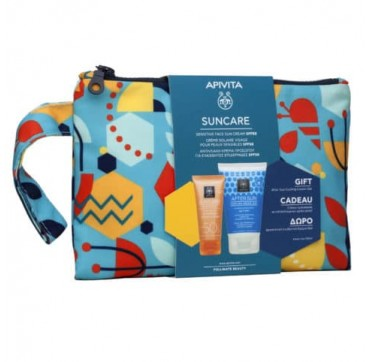 Apivita Suncare Promo Pack Sensitive Face Sun Cream Spf50+ 50ml & Δώρο After Sun 100ml Σε Συλλεκτικό Necessaire