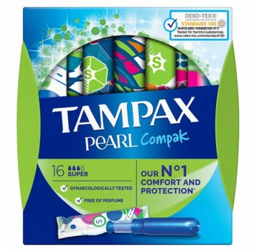 Tampax Compak Pearl Super Ταμπόν 16τμχ.