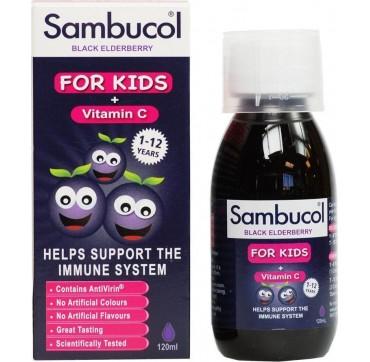 Olvos Science Sambucol Kids + Vitamin C ΠΑΙΔΙΚΟ ΣΙΡΟΠΙ ΓΙΑ ΑΝΟΣΟΠΟΙΗΤΙΚΟ 120ml