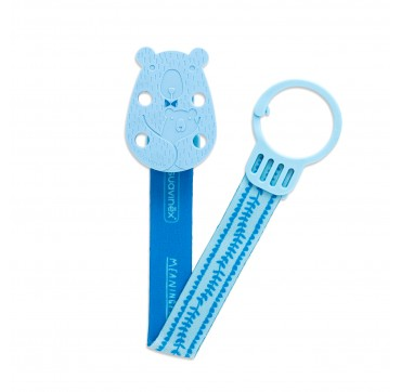 SUAVINEX BEAR SOOTHER CLIP WITH RIBBON BLUE +0m ΚΛΙΠ ΠΙΠΙΛΑΣ ΜΕ ΚΟΡΔΕΛΑ ΑΡΚΟΥΔΑΚΙ 1TMX