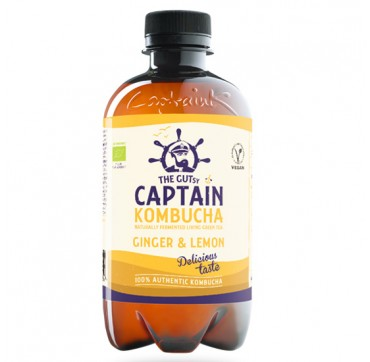 THE GUTsy CAPTAIN KOMBUCHA NATURALLY FERMENTED LIVING GREEN TEA GINGER LEMON ΤΣΑΙ ΚΕΦΙΡ ΜΕ ΓΕΥΣΗ ΤΖΙΝΤΖΕΡ ΛΕΜΟΝΙ 400ML