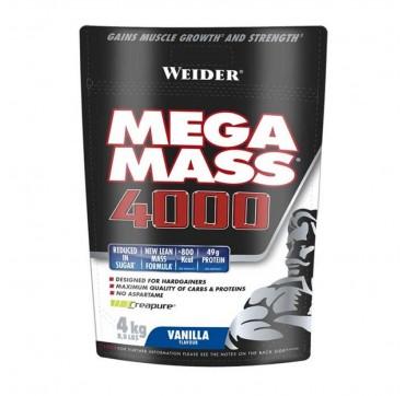 Weider Mega Mass 4000 Vanilla Flavour Πρωτεϊνη Όγκου Γεύση Βανίλια 4kg