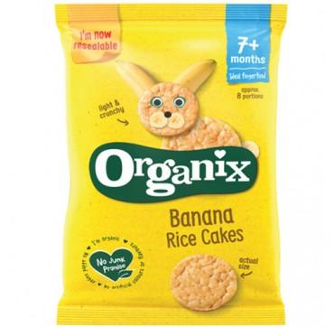 ORGANIX BIO BANANA RICE CAKES 7+months Βιολογική Ρυζογκοφέτα με Επικάλυψη Μπανάνας Χωρίς Γλουτένη 50g