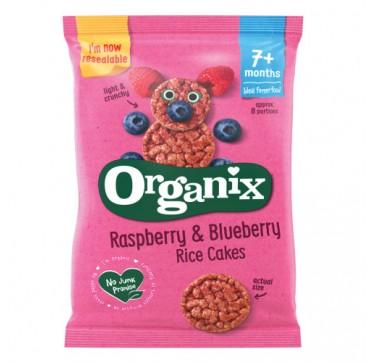 ORGANIX BIO Raspberry & Blueberry RICE CAKES 7+months Βιολογική Ρυζογκοφέτα με Επικάλυψη Σμέουρο & Μύρτιλο Χωρίς Γλουτένη 50g