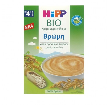 HIPP BIO Κρέμα Χωρίς Γάλα με Βρώμη Χωρίς Προσθήκη Ζάχαρης, Χωρίς Γλουτένη (Από το 4ο Μήνα) 200g