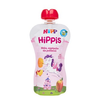 HIPP HIPPIS Bio Παιδικός Φρουτοπολτός Μήλο, Κορόμηλο και Ροδάκινο 100g