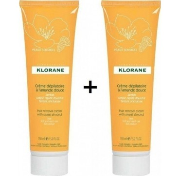 Klorane Hair Removal Cream with Sweet Almond Promo 2x150ML (Το 2ο Προϊόν με 1€)