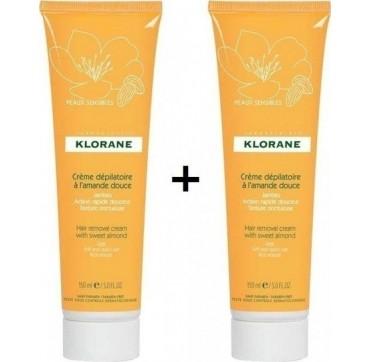 Klorane Hair Removal Cream with Sweet Almond Promo 2x150ML (Το 2ο Προϊόν με 1€)