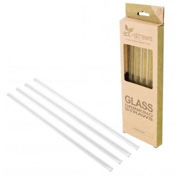 Ecostrawz Glass Drinking Straws Οικολογικά Επαναχρησιμοποιούμενα Καλαμάκια 8x215mm 4τμχ