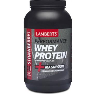 Lamberts Perfomance Whey Protein & Magnesium Φράουλα 1000g