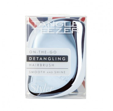 TANGLE TEEZER On-The-Go Detangling Hairbrush Smooth and Shine Compact Styler Baby Blue Chrome 1TMX
