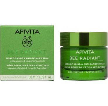 Apivita Bee Radiant White Peony & Patented Propolis Signs Of Aging & Anti-fatigue Cream Rich Texture 50ml