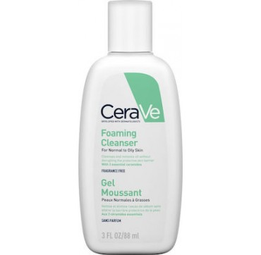 Cerave Foaming Cleanser Gel Καθαρισμού για Κανονικές έως Λιπαρές Επιδερμίδες 88ml