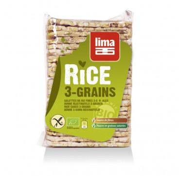Lima Λεπτές Ρυζογκοφρέτες Με 3 Δημητριακά Βίο 130g