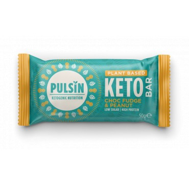 PULSIN KETOGENIC NUTRITION - PLANT BASED KETO BAR CHOC FUDGE AND PEANUT 50g