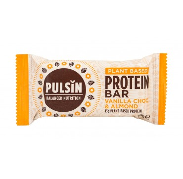 Pulsin Balanced Nutrition Plant Based Protein Bar Vanilla Choc And Almond 13g Plant Based Protein 50g